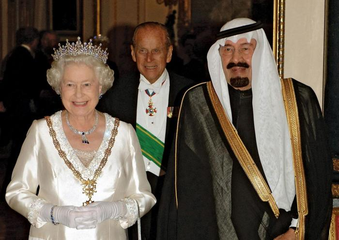 Saudi Crown Prince Abdullah with British Queen Elisabeth and Prince Philip.